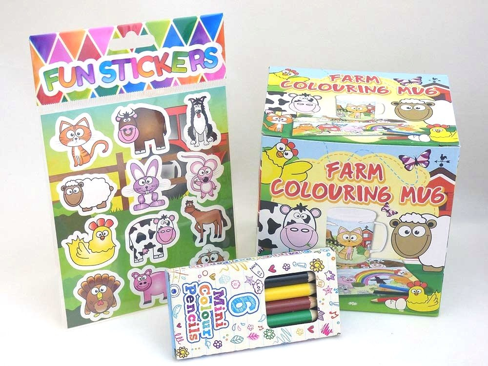 Funky Farm Colouring Mug Party Bag