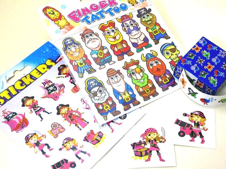 Pink Pirate Tattoos & Stickers Party Bag