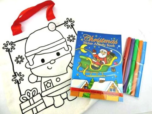 Christmas Colour-In Canvas Party Bag
