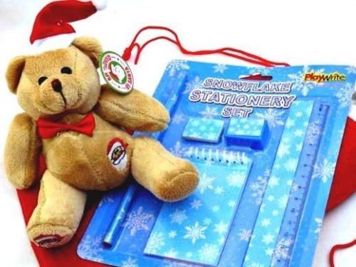 Snowflake Stationery & Teddy Santa's Sack