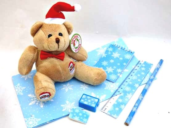 Snowflake Stationery & Teddy Party Bag