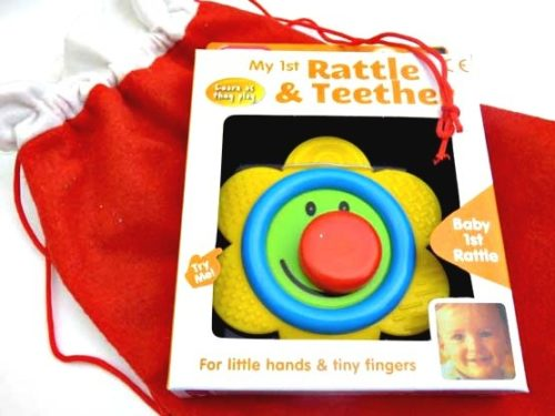 Smiley Flower Rattle & Teether Christmas Sack