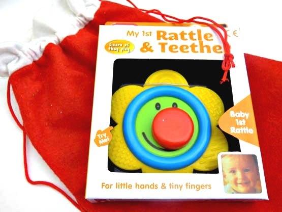 Smiley Flower Rattle & Teether Christmas Sack