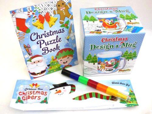 Christmas Colouring Mug & Puzzle Book Party Bag