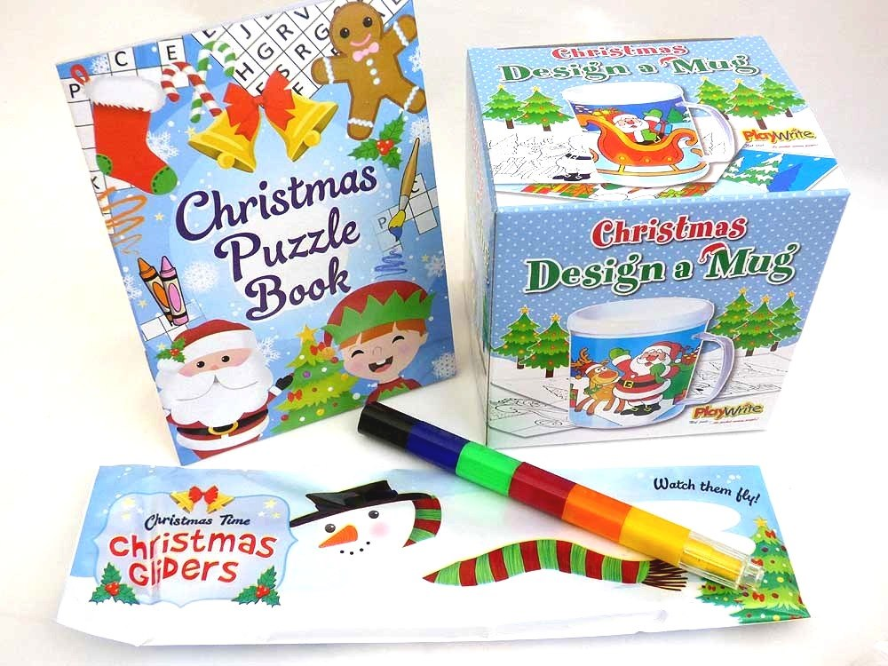 Christmas Colouring Mug & Puzzle Book Party Bag