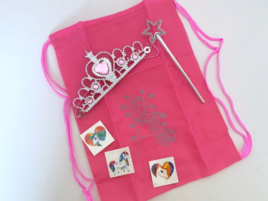 Filled Pink Princess Drawstring Party Bag__