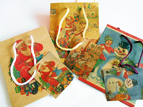 Nostalgic Christmas Kraft Gift Bag
