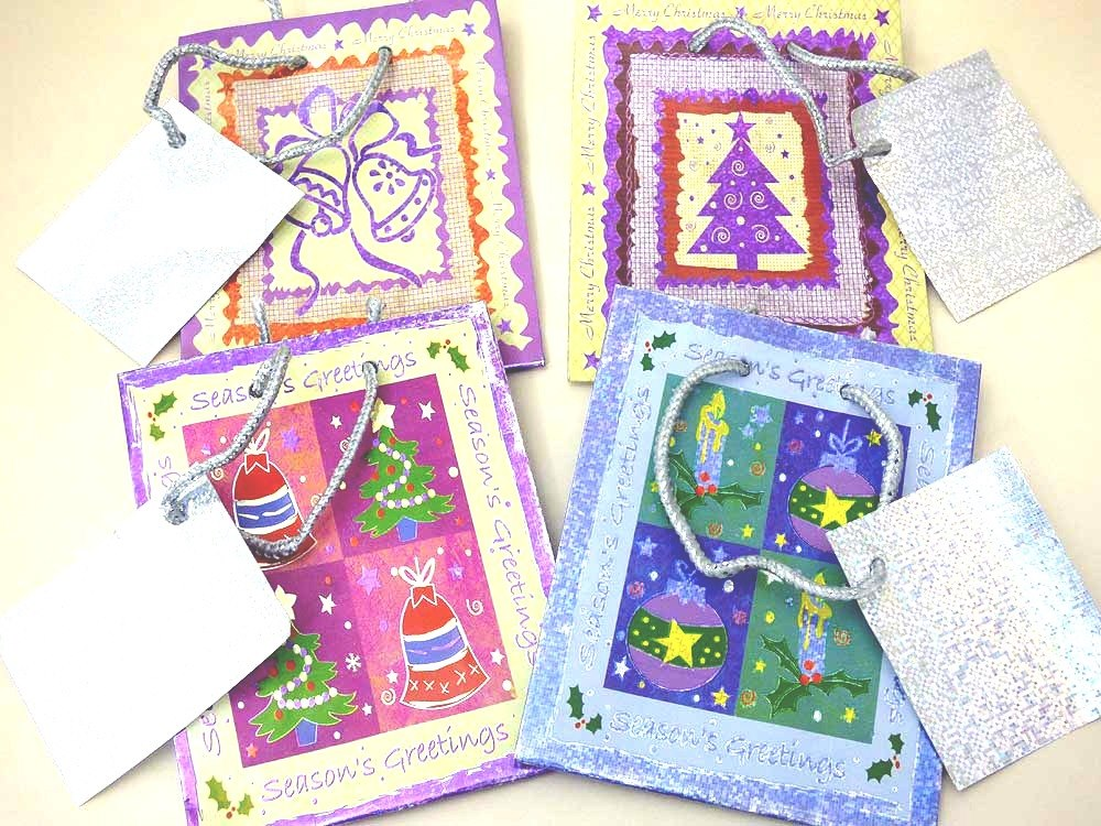 Patterned Foil Christmas Gift Bag