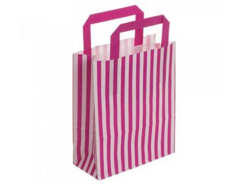 Hot Pink Stripe Recyclable Carry Bag