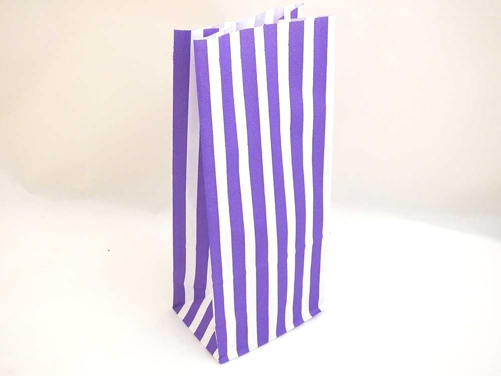 Purple Candy Stripe Paper Bag