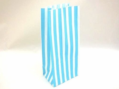 Blue Candy Stripe Paper Bag