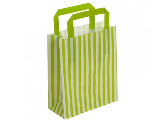 Lime Green Stripe Recyclable Carry Bag