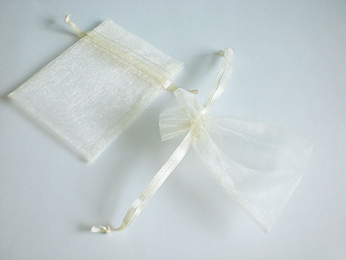 Small White Organza Drawstring Bag