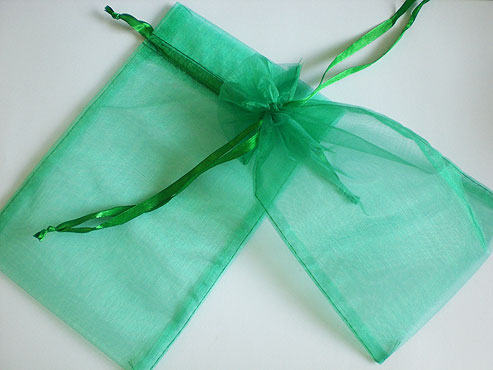 Large Emerald Green Organza Drawstring Bag