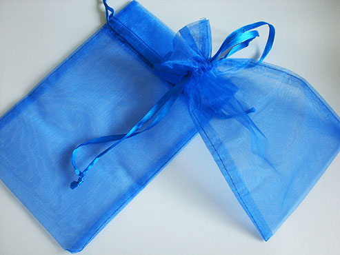 Large Royal Blue Organza Drawstring Bag