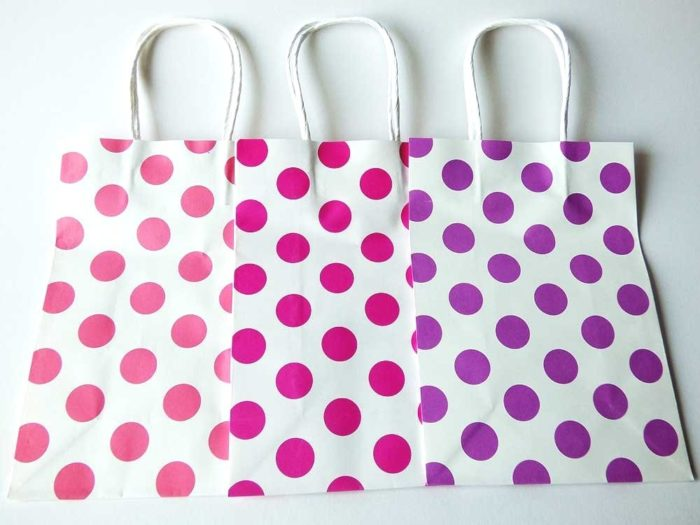 Spotty Recyclable Carrier Bag - pink / rose / purple