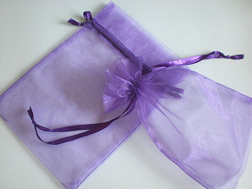Large Purple Organza Drawstring Bag