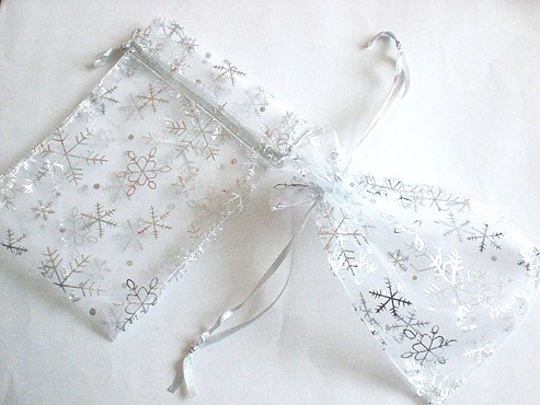 Medium White Organza Drawstring Bag with Silver Snowflakes