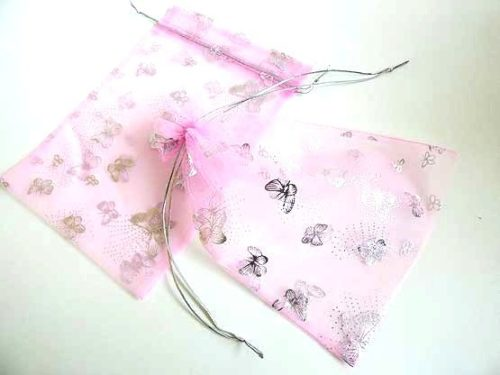 Large Pink Organza Bag with Silver Butterflies