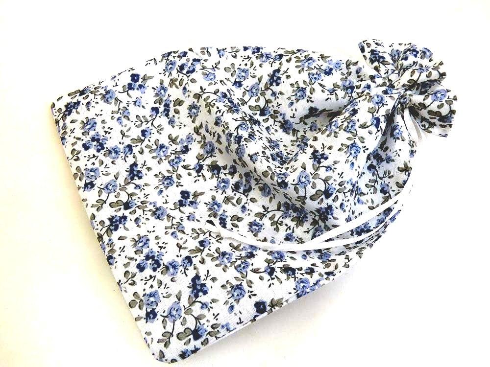 Large Blue Floral Drawstring Bag