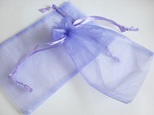 Large Lilac Organza Drawstring Bag