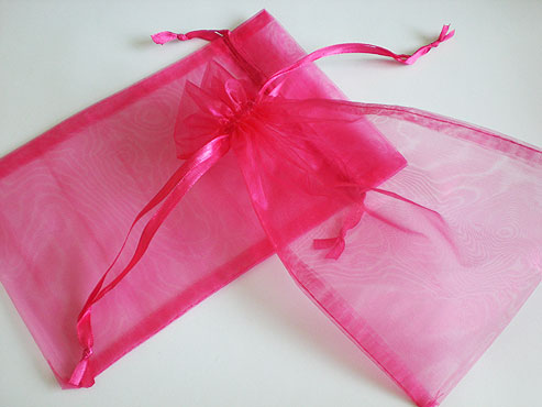 Large Fuchsia Organza Drawstring Bag