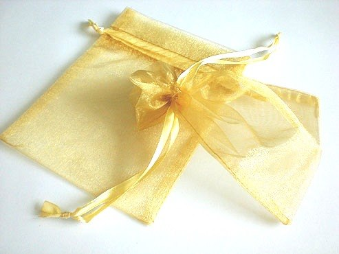 Medium Gold Organza Drawstring Bag