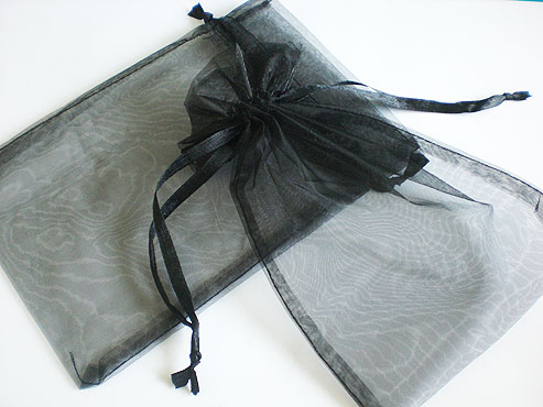 Large Black Organza Drawstring Bag