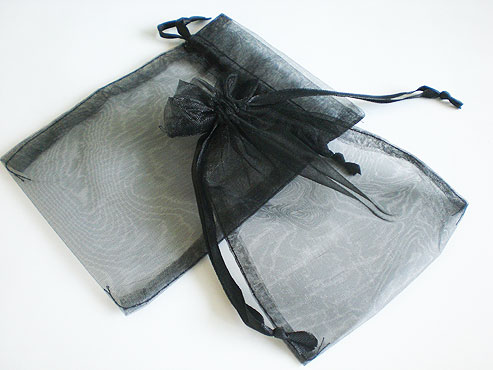 Medium Black Organza Drawstring Bag