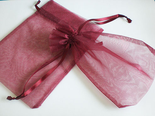 Large Burgundy Organza Drawstring Bag
