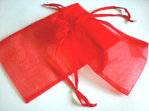 Large Red Organza Drawstring Bag