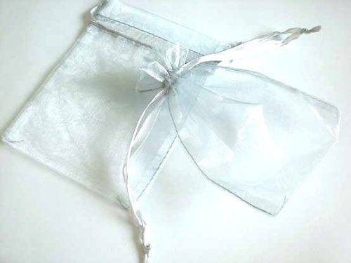 Medium Silver Organza Drawstring Bag