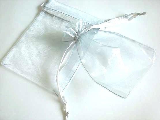 Medium Silver Organza Drawstring Bag