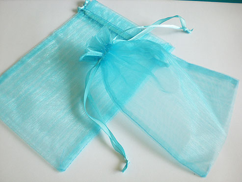 Large Turquoise Organza Drawstring Bag