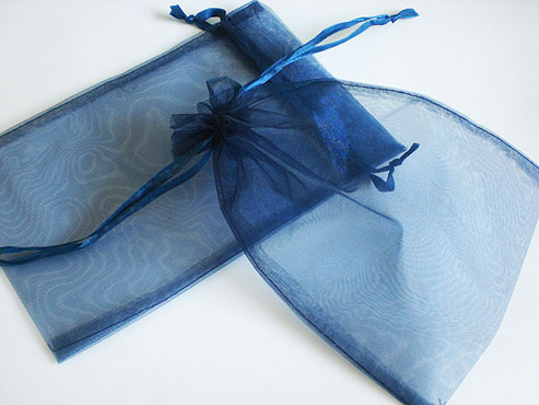 Large Navy Blue Organza Drawstring Bag