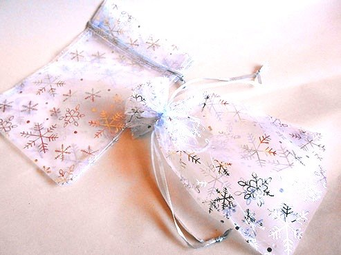 Large White Organza Drawstring Bag with Silver Snowflakes