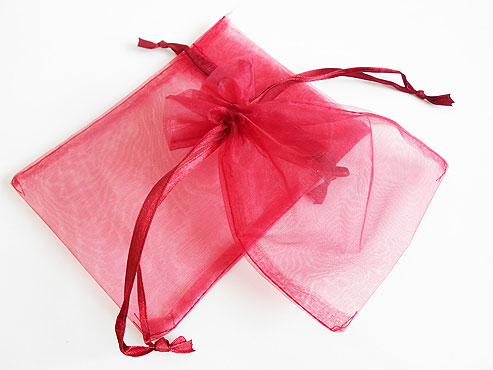 Medium Burgundy Organza Drawstring Bag