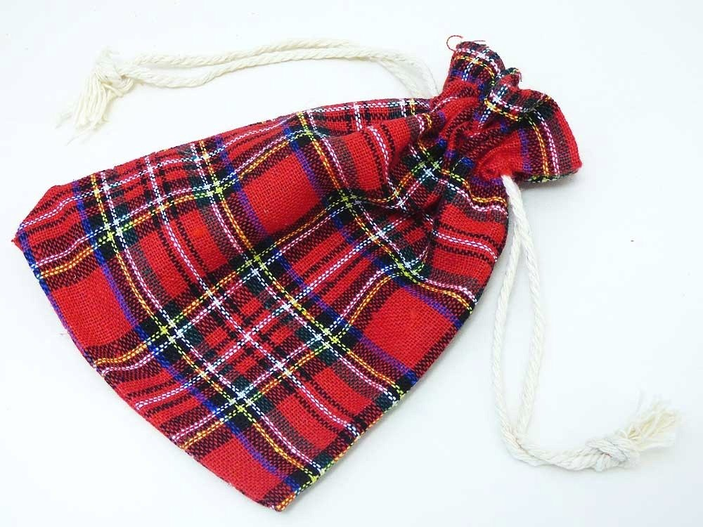 Red Tartan Drawstring Bag