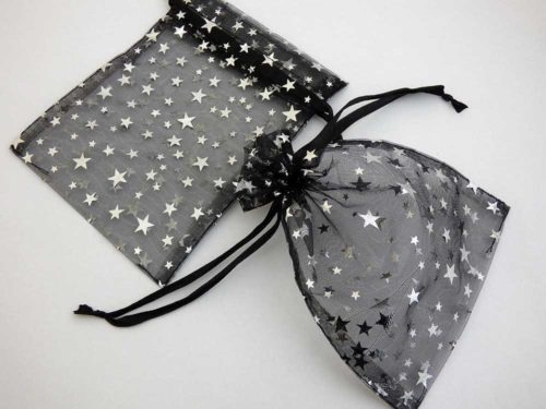 Medium Black Organza Drawstring Bag with Silver Stars