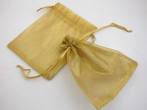 Medium Metallic Gold Organza Drawstring Bag