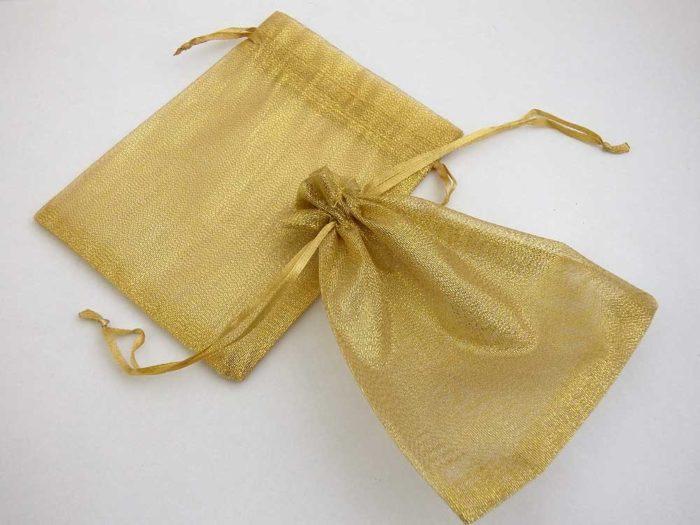 Medium Metallic Gold Organza Drawstring Bag