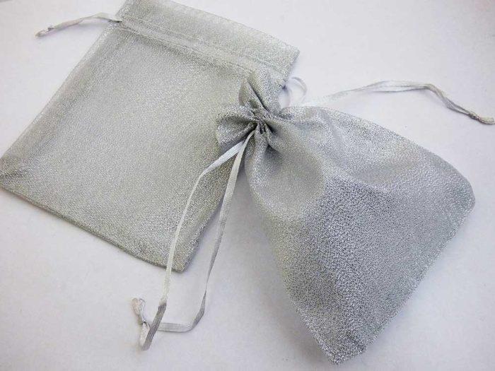 Medium Metallic Silver Organza Drawstring Bag