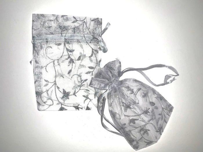 Medium Silver Organza Drawstring Bag With Silver Glitter Print