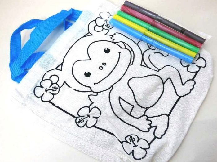 Monkey Colour-In Canvas Bag