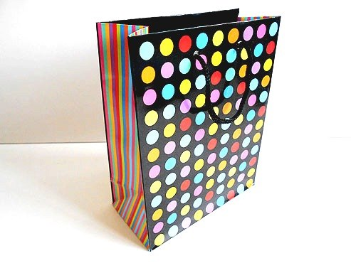 Bright Stripes and Spots Gift Bag (14.5x12x6)