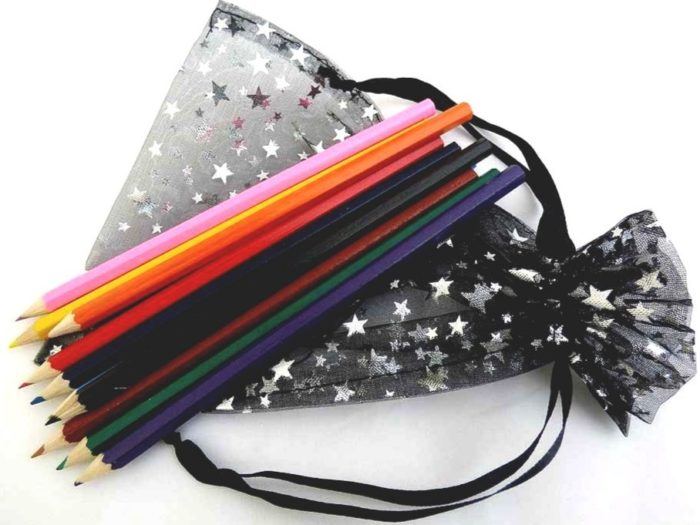 Starry Drawstring Bag of Full-Sized Colouring Pencils