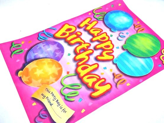 Extra Large Pink Happy Birthday Balloons Loot Bag