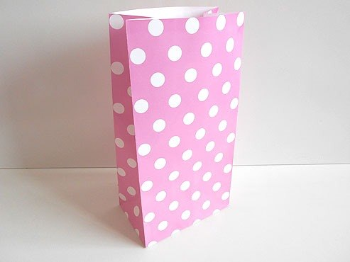 Pink Polka Dot Paper Bag (25x13x8)