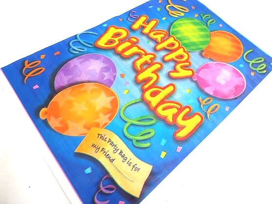 Extra Large Blue Happy Birthday Balloons Loot Bag