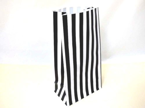 Black Candy Stripe Paper Bag (25x13x8)